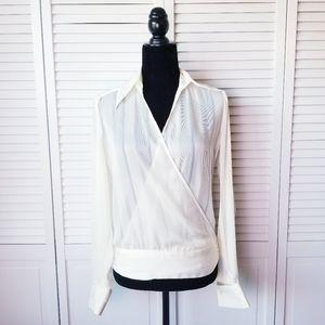 Zara Women Cream White Wrap Striped Blouse Medium